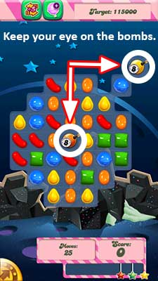 candy crush level 97 bombs