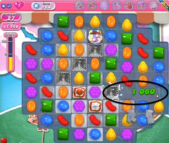 Level 284 Cheat #2: Eliminate jelly squares while you eliminate the
